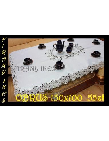 Obrus Gipiura 150x100 Biały