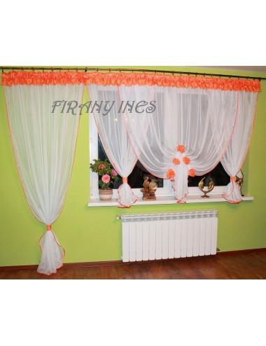 Firanka Balkonowa Bombka Kwiat Pomarańcz 600/230