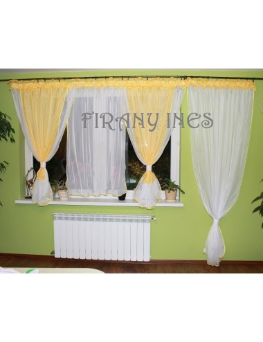 Edyta Balkonowa żółta 600/230 firanka okienna